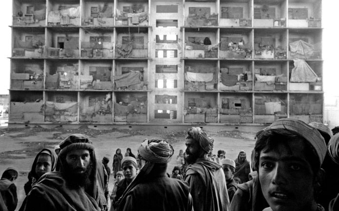 AFGHANISTAN. Kabul. 2001. Refugees living in the ex Russian embassy compounds.