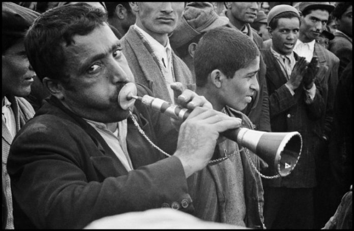 IRAN. Tehran. 1956. Street musician performing.